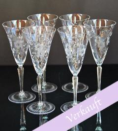 6  Champagne Glasses with flowers**