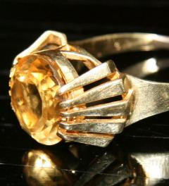 585er Gold Ring mit Gold Topas**
