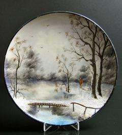 Antique wall palte with winter landscape**