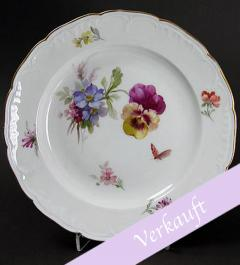 KPM Berlin Plate with pansies and butterfly**